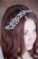 Bridal Rhinestones Hair Vine Crystals Pearls Tiara Crown Wedding Comb Headpiece