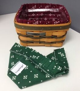 LONGABERGER-Collector-Club-2008-Square-Tan-Green-Square-Basket-Protector-2-Liner