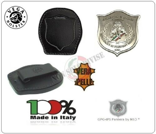 Placca Cintura in Cuoio GPG-IPS con Placca Guardia Particolare Giurata Inacrichi
