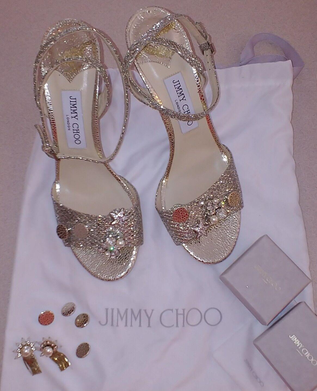 JIMMY CHOO argento Sparkle Ankle  Strappy OpenToe Heels, Charms Detacable NEW 39  il prezzo più basso