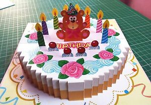 3D Popup Birthday GREETING CARD Handmade Folding 3D Gift Bear Cake