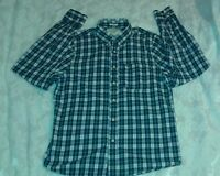Abercrombie &fitch Plaid Shirt Green,blue Long Sleeve Muscle Fit Large Mens