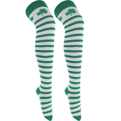Women/'s Green /& Bianco Calze A Righe Con Trifoglio Top St Patrick/'s Fancy Dress