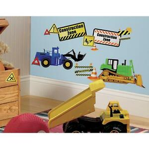 New CONSTRUCTION ZONE WALL DECALS Dump Trucks Bulldozers Stickers Boys Decor