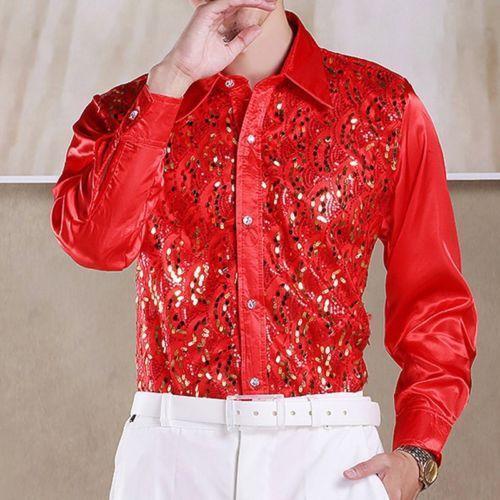 Men/'s Sequins Latin Dance Shirt Costume Salsa Ballroom Dancing Tops Dancewear @