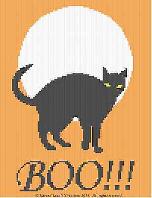 HALLOWEEN CAT BOO! Crochet Afghan Graph Chart Pattern ***EASY/BEGINNER***
