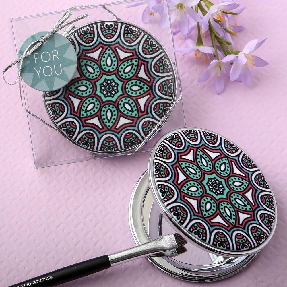 60 Indien Mandala Compact Miroir Mariage Bridal Shower Party Cadeau Faveurs