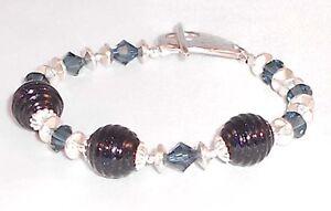 FEELIN-039-GROOVY-Artisan-Lampwork-Crystal-Deep-Blue-Silver-tone-Bracelet