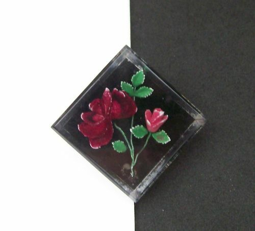 Red pinks Pin Vintage Reverse Crystal Intaglio