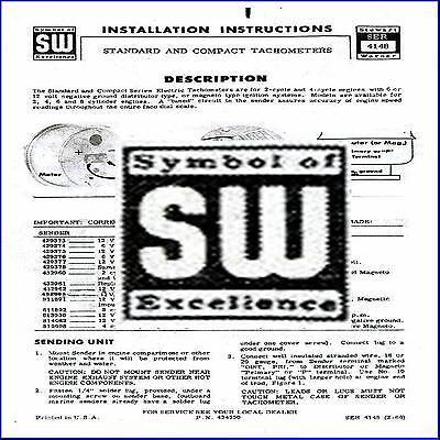 Detailed All Vintage Stewart Warner Tachometer Tach Install Manual