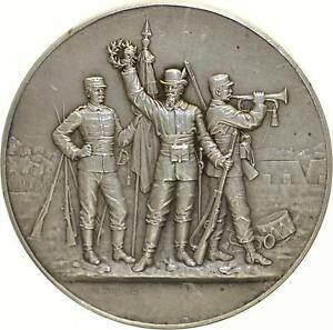 M867-Medaille-Amicale-Ecole-Poissy-Sirguey-1909-Militaire-Preparation-guerre-Sil