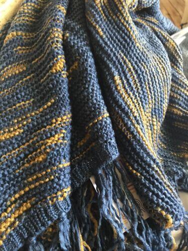NWT Lularoe Mimi-OS-Gorgeous Slate Blue With Gold Intermittently Woven Shawl