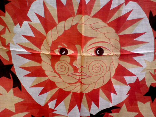 INDIAN 100/%COTTON ORANGE /&YELLOW SCARF WITH SUN /& STARS MOTIF40cmX40cm £4.50 nwt