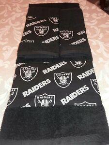 Oakland Raiders 3 Piece Bath Towel Set Handmade GREAT GIFT!!!
