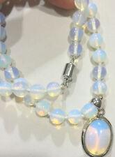 "New Gemstone Healing Chakra Reiki Opal Opalite Stone Pendant Necklace 18"""