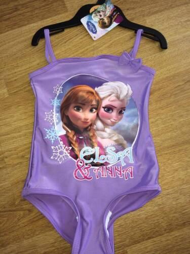 BNWT Girls Swimsuit Swimming Costume Frozen Elsa Anna Lilac Swimwear Age 2-3 yrs
