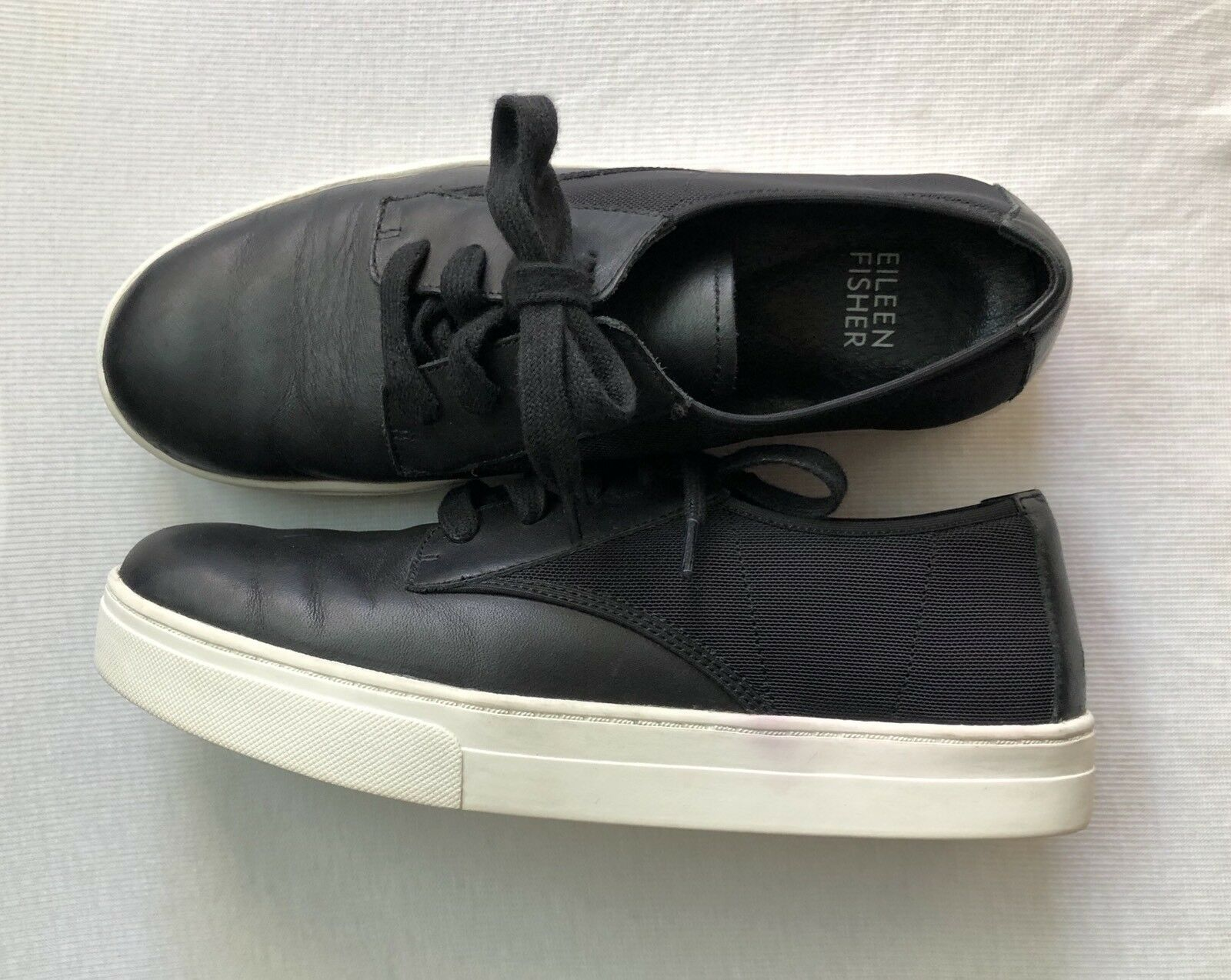 Eileen Fisher Koi Black Black Black Glazed Leather Mesh Ventilation Platform Sneakers Size 6 557b58