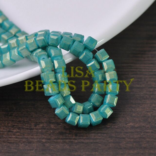 New 50pcs 6mm Cube Square Faceted Gold Foil Glass Loose Spacer Beads Lake Green