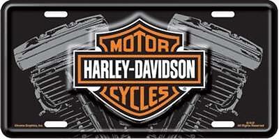 Harley Davidson Bar & Shield  Embossed V-Twin Vanity Car License Plate Auto Tag