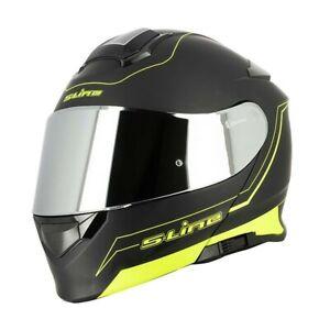 Casque-Moto-Modulable-S550-Noir-Jaune-MAT-Visiere-Chrome-Clair-ecran-solaire