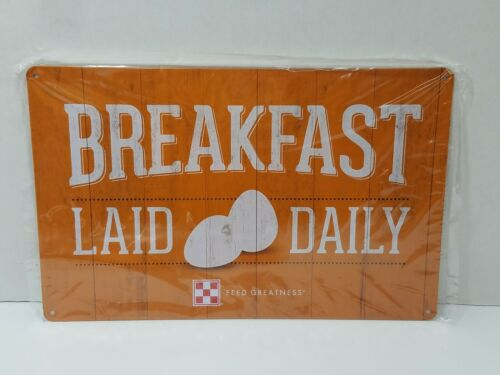 New Purina Chicken Coop Metal Sign Orange Breakfast Laid Daily Eggs Tin 11x7
