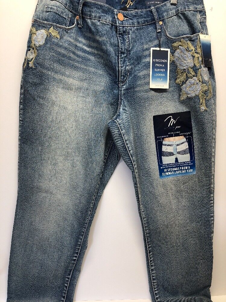 NWT Miracle Jeans Women Light Wash EmbroideredTummy Control Jeans 18