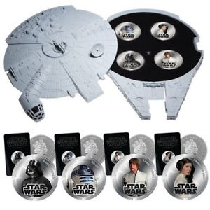 Star Wars MILLENNIUM FALCON Collectable SFX Case Toy with 4 Silver Plated Coins