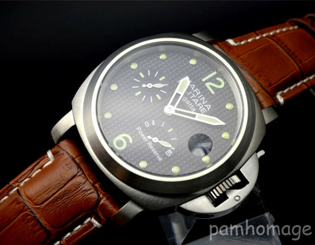 Parnis Military 44mm  power reserve automatic mechanical men's wrist watch