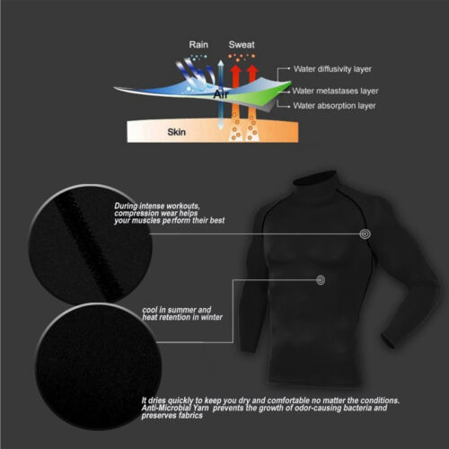 Mens Sports Tops Compression Cool Dry Mock Neck Shirt Long Sleeve Running Gym
