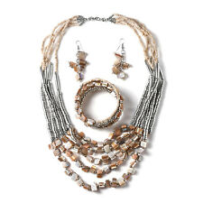 """Women's Glass Beads Drop Earrings Wrap Bracelet Coastal Necklace Jewelry Set 22"""""""