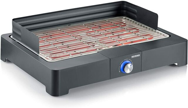 Severin PG 8560 Table Barbecue Avec Barbecue 2200W Coupe-Vent Safe Touch Noir