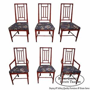 Image Is Loading Vintage Set Of 6 Faux Bamboo Painted Dining