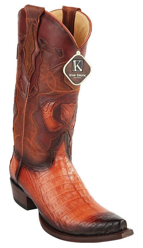 Para Hombre SNIP Rey exótico Genuino Caiman vientre SNIP Hombre Toe occidental botas de vaquero hecho a mano db6932