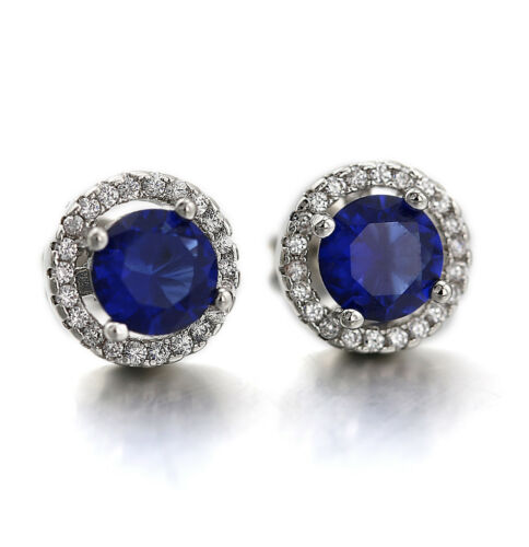 18K GOLD GF Blue Sapphire Vintage STUD EARRINGS made with SWAROVSKI CRYSTAL Gift