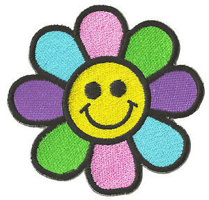 Capa-de-brazos-insignia-parche-Smiley-Flor-Hippy-termoadhesivo-parche-bordado