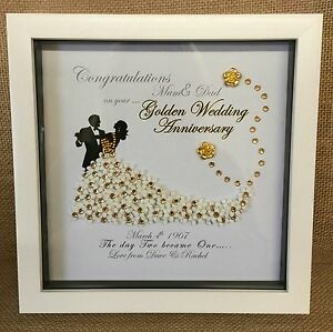 Personalised Deep Box Frame Golden Silver Pearl