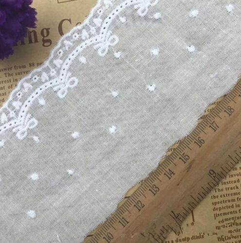 4 Yards Baumwolle Stickerei Spitze Nähen Kleidung Dekoration Hochzeitskleid
