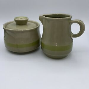 Vintage Stoneware Japan Hand Painted Creamer And Sugar