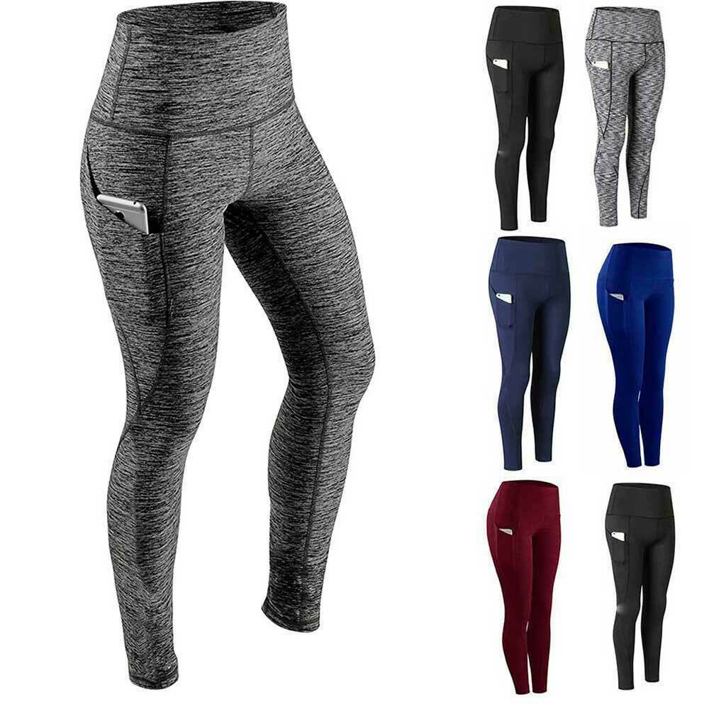 Women High Waist Yoga Leggings Pocket Pants Fitness Sport Gym Workout Athletic