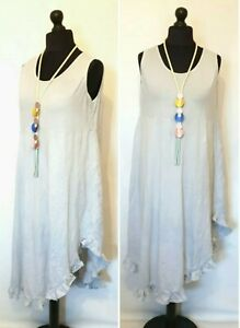 """QUIRKY LaGeNLooK BOHO ruched frill TUNIC DRESS /""""MADE IN ITALY/"""" A LINE HI LOW HEM"""