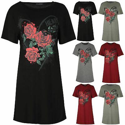 Sistematico Tunica Donna Amore Cuore Interruzioni Floreale Rose Baggy Long T Shirt Abito Top-mostra Il Titolo Originale