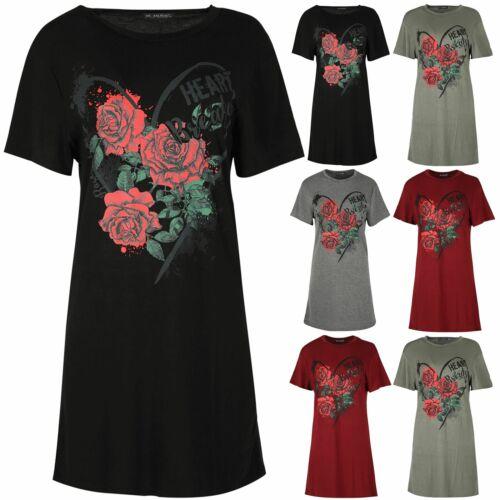 Femme Femmes Tunique Love cœur se brise Floral Rose Baggy Long T shirt robe Haut