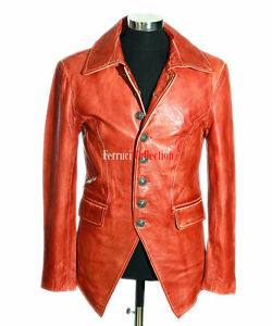 f1d878437 Details about Lucifer Burnish Brown Mens Gothic Styled Smart Sheep Leather  Blazer Shirt Jacket