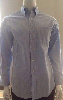 Club Room Men's Long Sleeve Button Down Blue Striped Shirt, Size M, 15.5  34/35