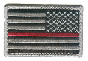 "United States US flag 3""x2"" black/grey stars right red line redline patch fire"