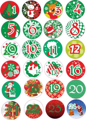 Aufkleber für Adventskalender 1 bis 24 Weihnachten Weihnachtskalender Advent