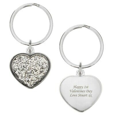 Engraved Free Birthdays Mothers Day Personalised Diamante Heart Charm