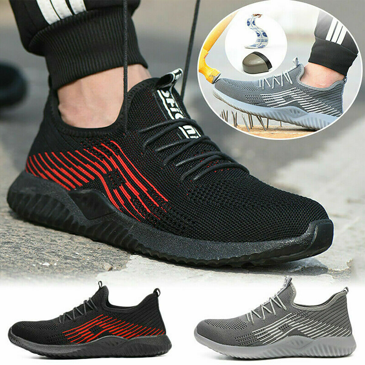 Safety Work Shoes Men Steel Toe Cap Trainers Sport Lightweight Hiking Shoes N1