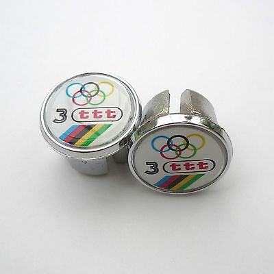 80s Vintage Style /'Team Cinzano/' 70s Caps Repro Chrome Racing Bar Plugs