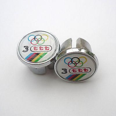 3ttt 70s 80s Repro Chrome Racing Bar Plugs Vintage Style Caps